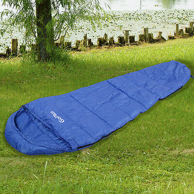 Mummy Waterproof Sleeping Bag 0-10 Degree Camping Hiking With Carrying Bag Blue