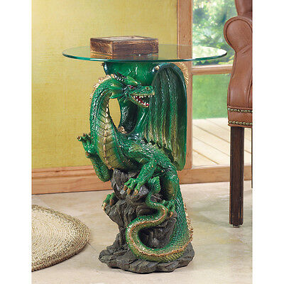 GREEN DRAGON MYSTICAL ACCENT TABLE ROUND GLASS TOP MEDIEVAL HOME DECOR~34738