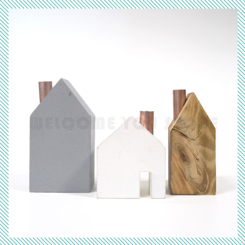 Various Size Wooden Block House Home Decor Shabby Scandinavian Style Set of 3