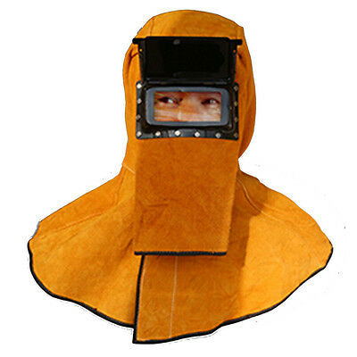 Welding Heat Insulation Protection Leather Connected Mask Helmets Hooded Shawl