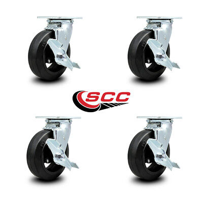 Scc 6 Rubber On Cast Iron Wheel Swivel Casters Wbrakes - Set Of 4