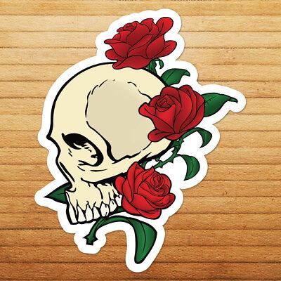 Skull Roses Flowers Skeleton Bones Tattoo Die Cut Car Window Vinyl Decal - Skull Flowers