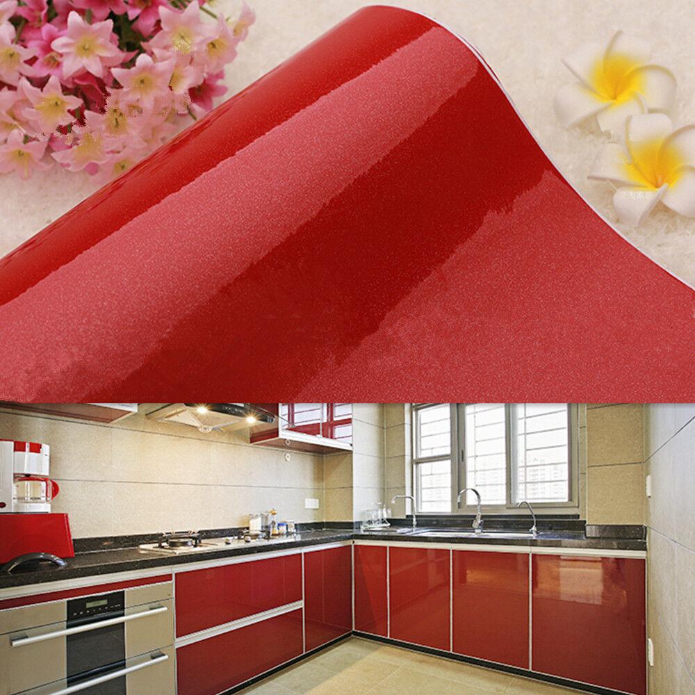 yazi Red Vinyl Contact Paper Self Adhesive Kitchen ...