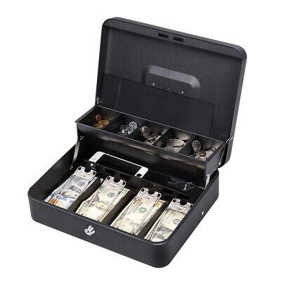 Portable Cash Box With Money Tray And Lock Money Organizer Safety Storage Black