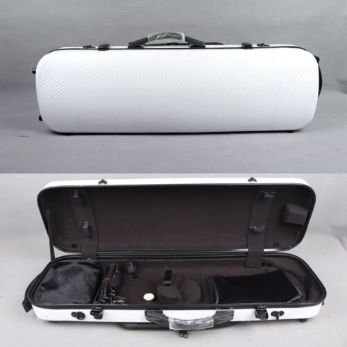 White 4/4 Violin Case Oblong Carbon Fiber Violin Box Light Strong Carry Violin