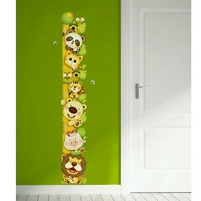 Animals Growth Height Chart Measure Removable Art Wall Decal Sticker Luminescent