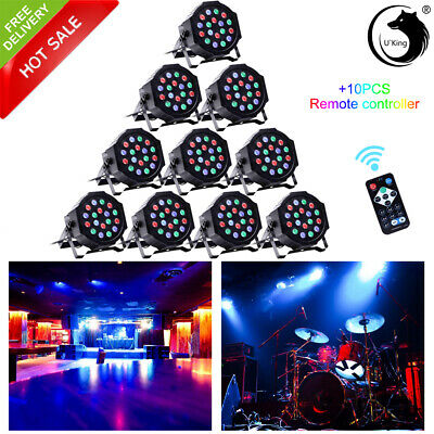 10X 18 LED Stage Lights RGB Par Can Flat DMX512 DJ Disco Club Uplighter Lighting