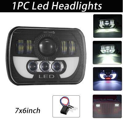 "NEW 7x6"" 5x7"" LED Headlight Halo DRL For Jeep Wrangler YJ GMC Savana Ford F-250"