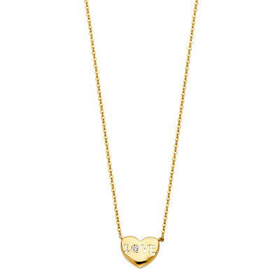 (Real 14K Yellow Gold Love Heart Pendant Charm Rolo 18
