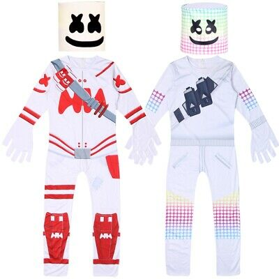 Red Jumpsuit Halloween Costume (Marshmello DJ Mask Costume Kids Boys Fancy Party Dress Halloween Jumpsuit)