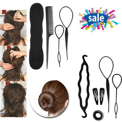 2 SET Hair Styling Tools Bun Maker Topsy Tail Hair Braid Donut Comb DIY-Assorted for sale  Humble