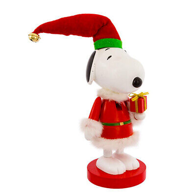 """[Kurt Adler Snoopy In Red Suit Peanuts Christmas Nutcracker 10"""" New</Title]"""