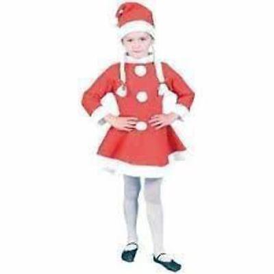 KRAFTZ® Christmas Xmas Santa Girl Dress Mini (10-12 years) & Santa Cap Set