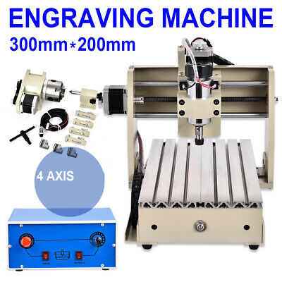 Cnc 3020 4 Axis Engraving Machine Cnc Router Engraver 3d Milling Cutting Desktop