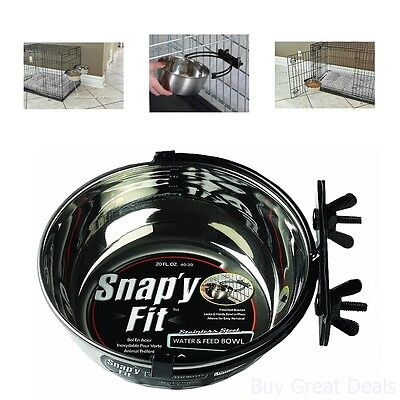 MidWest Pet Bowl Stainless Steel Water Feed 20oz Dog Crate Cat Cage Small Animal