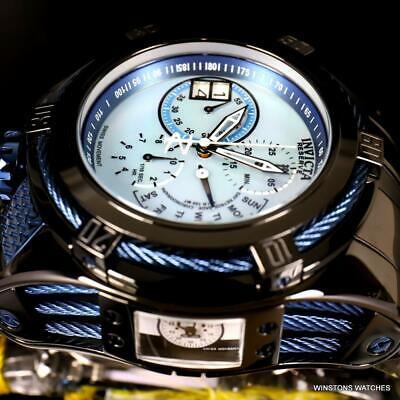 Invicta Reserve Bolt Zeus Tria Black Steel MOP 56mm 3 Swiss Dials Watch New