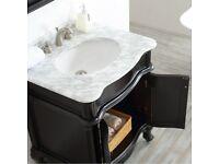 750MM Vanity Unit Basin Carrara Marble Worktop Black Floor Standing Sink