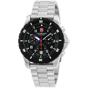 Victorinox-Swiss-Army-Black-Dial-Stainless-Steel-Men-039-s-Watch-241679