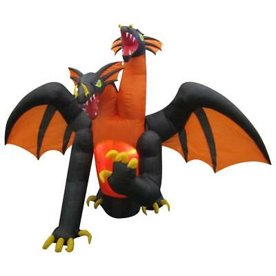 Halloween Gemmy 11 ft Animated Projection Fire & Ice 2 Headed Dragon Inflatable
