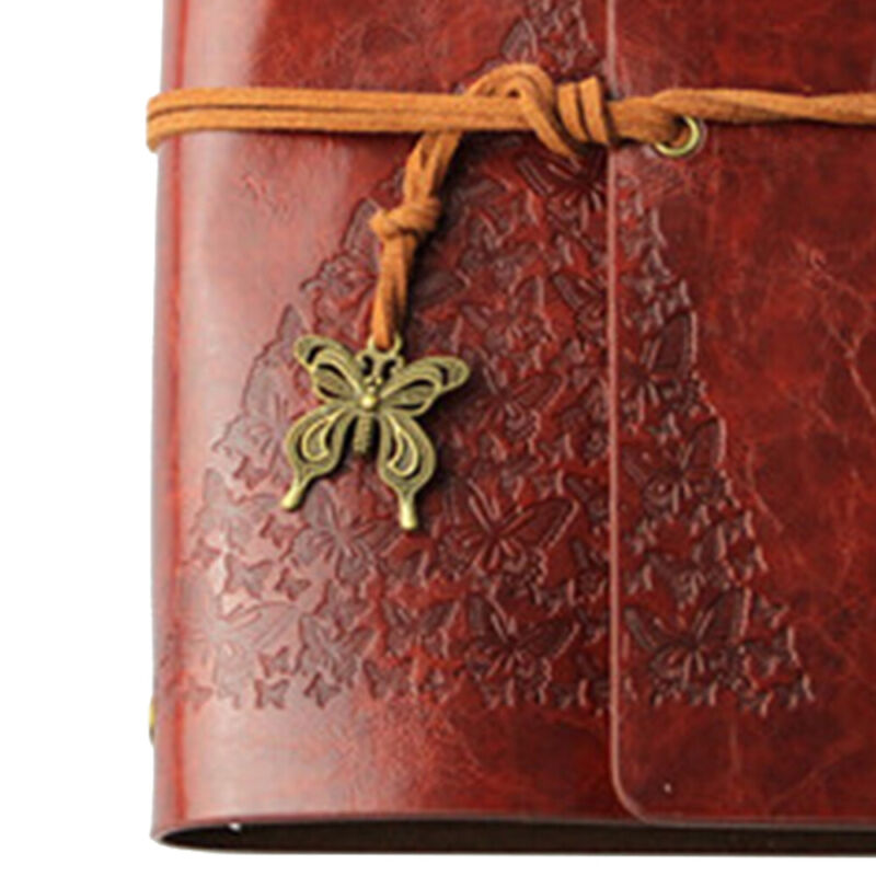 Vintage Leather Diary Butterfly Notebook Notepad Travel Jour