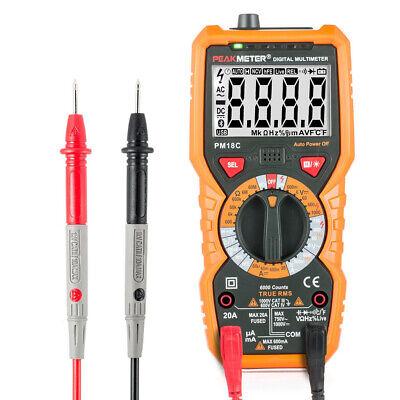 Peakmeter Handheld Digital Avometer 6000 Counts 1000v Ac Dc Temperature Tester
