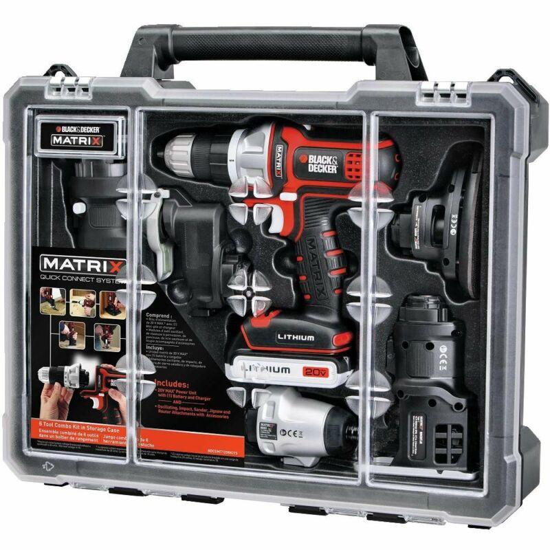 Black Decker Matrix Combo 6 Tool Kit Cordless Set 20V Drill