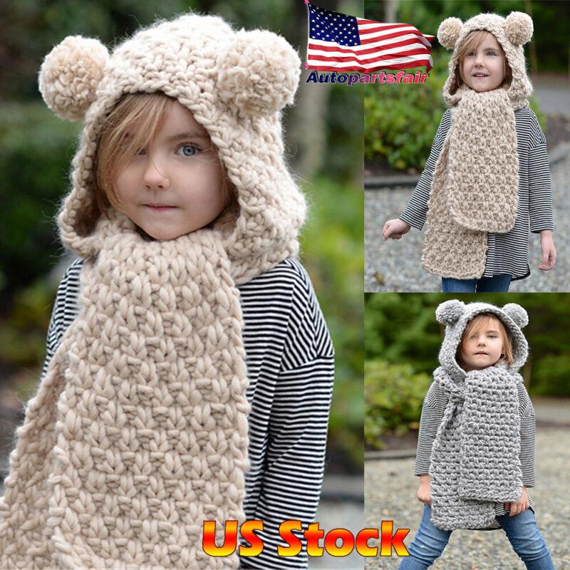 Unicorn Winter Bear Hat Hooded Scarf Earflap Knitted Cap Xmas Gift Kids/Boy/Girl