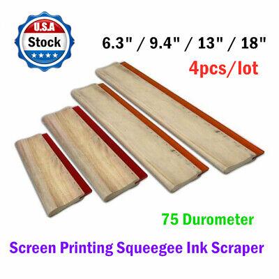 4pcs - 6.3 9.4 13 18 Silk Screen Printing Squeegee Ink Scraper 75 Durometer