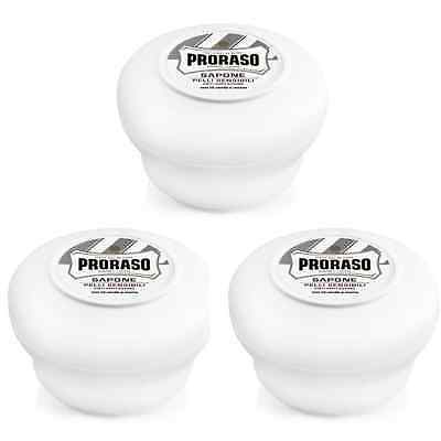 Triple Pack - Proraso shaving soap cream white sensitive 150ml bowl / jar / tub