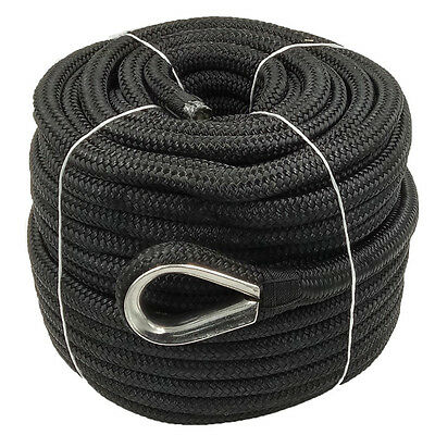 - Anchor Rope 5/8 Inch 150 Feet Double Braided Nylon Rope with Thimble Black