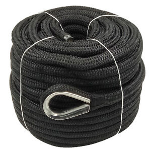Anchor Rope 5/8 Inch 150 Feet Double Braided Nylon Rope with Thimble Black