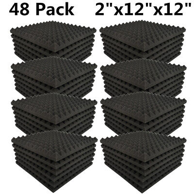 "48 Pack Acoustic Foam Panels Pyramid Soundproofing Studio Tiles 2"" X 12"" X 12"""
