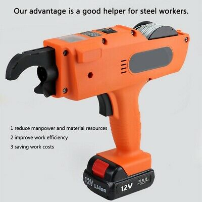 Automatic Rebar Tier Tying Machine Electric Handheld Strapping 2 Battery 8-34mm