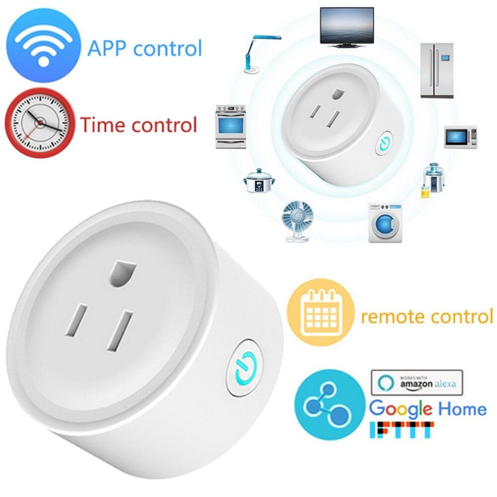 Mini WiFi Smart US Plug Outlet Socket for Echo Alexa Google Home Remote Control