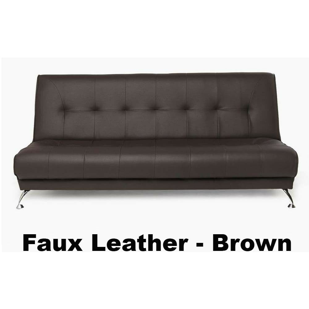 Brand New Napoli Faux Leather Sofa Bed With Chrome Legs Brown In
