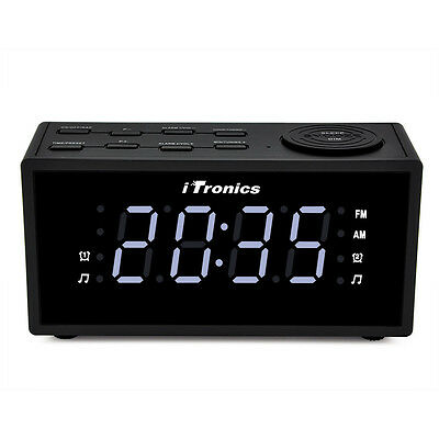 iTronics LED Dual Alarm Clock Radio with AM/FM Radio, Snooze and Battery Backup