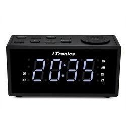 iTronics LED Dual Alarm Clock Radio with AM/FM Radio, Snooze and Battery Backup