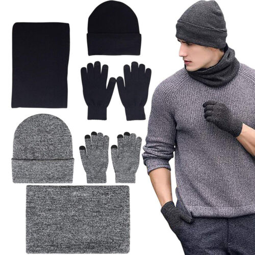 Man Women Winter Warm Soft Knit Beanie Hat Scarf Screen Gloves 3pcs Set Clothing, Shoes & Accessories