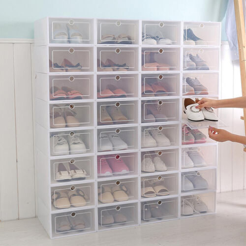Foldable Shoe Storage Box Clear Plastic Stackable Shoe Organizer 12 Pack White