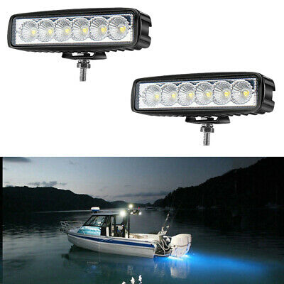 "2PCS 6""inch Spreader LED Deck/Marine Lights for Boat (Flood Light) 12V 18W Black"
