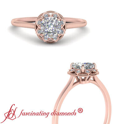 Rose Gold Floral Halo Engagement Ring With Cushion Cut Diamond In Center 1 Carat