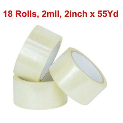 Packing Tape 18 Rolls 2 X 55 Yards 165 Ft Box Carton Sealing Clear 2 Mils