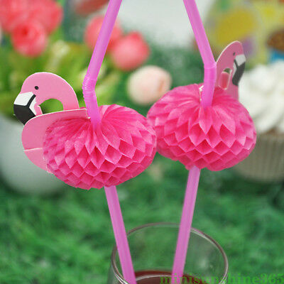 10Pcs Pink 3D Flamingo Plastic Drinking Straws Tableware Party Cocktail - Pink Plastic