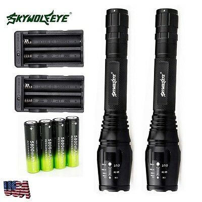 2 Sets 20000lumens 5 Modes T6 LED Flashlight Torch Lamp 18650 battery+Charger US