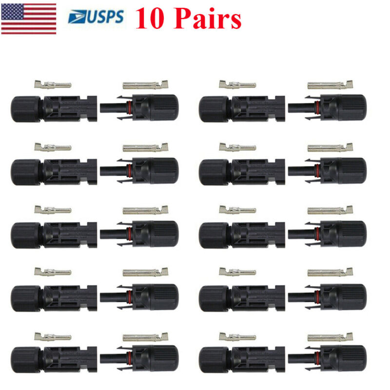 for MC4 Adapter Male Female Solar Panel Wire Cable Connector Waterproof 10 Pairs