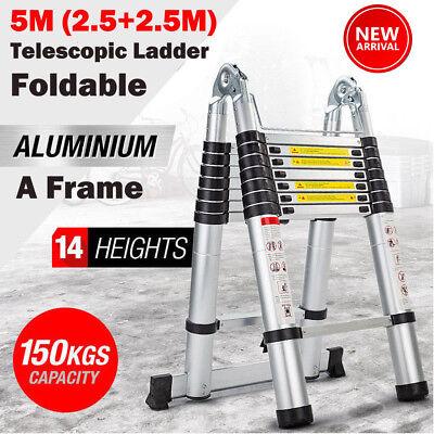16ft5 Multipurpose Aluminum Ladder Fold Folding Extend Telescopic Garden Tool