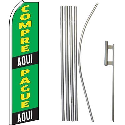 Compre Aqui Pague Aqui Green/Black Swooper Flag & 16ft Flagpole Kit/Ground Spike comprar usado  Enviando para Brazil
