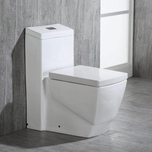 Woodbridg T-0020 Dual Flush Elongated One Piece Toilet, Square Design