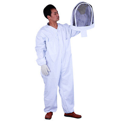 Bee Keeping Thickened Cotton Beekeeping Suit Full Body Hat Pull Over White Xxl