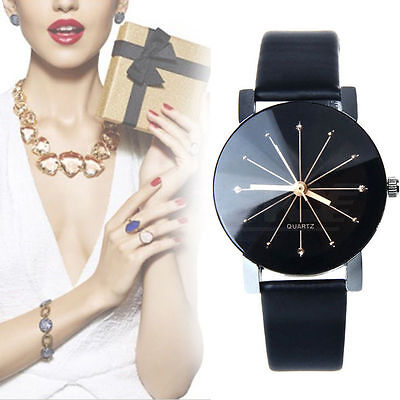 Fashion  Women Date Leather Stainless Steel Analog Quartz Wrist Watch Hot